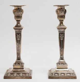 English Neoclassical Silver Candlesticks, Pair