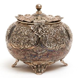 Continental Silver Repousse Hinged Lid Sugar Bowl