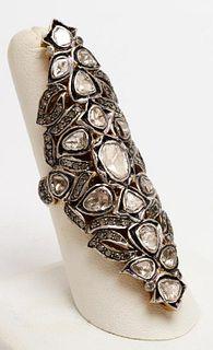 14K Yellow Gold & Silver Rose-Cut Diamond Ring