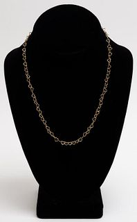 Vintage 18K Yellow Gold Heart Motif Chain Necklace