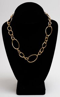 Italian 18K Yellow Gold Oval Link Chain Necklace