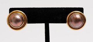 Elizabeth Locke 18K Yellow Gold Pearl Earrings
