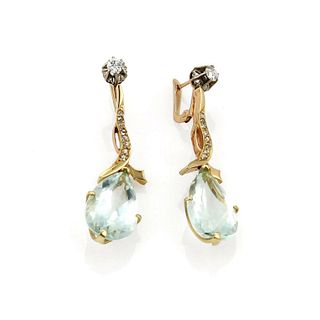18.40ct Aquamarine & Diamond 18k Gold Earrings