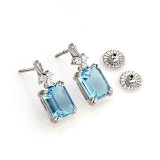 18k White Gold 7.25ct Aquamarine & Diamond Earring