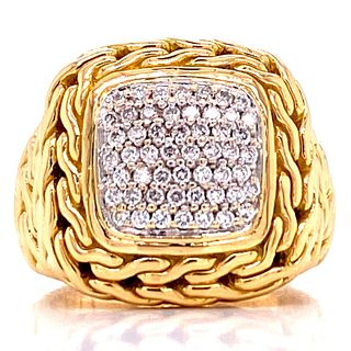 John Hardy Pave Diamond Signet Ring