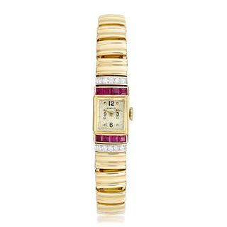 Tiffany & Co. Vintage Ruby and Diamond Ladies Watch in 14K Gold