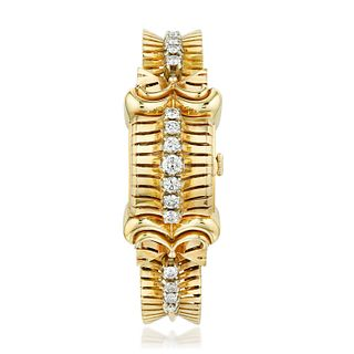 Gubelin Diamond Watch in 18K Gold with F. Borgel Case
