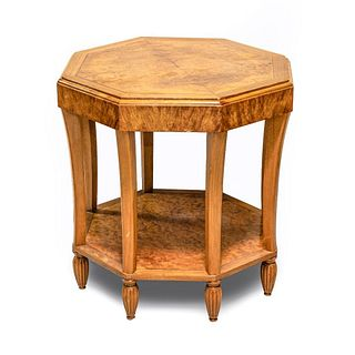 Early 20th Century French Art Deco Burl Walnut Side Table