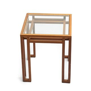 Mid Century School of Frank Llyod Wright Wood and Glass architectural design Table