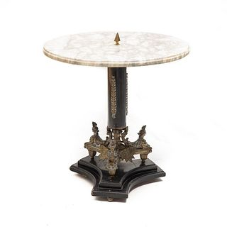 19th Century French Empire Bronze and Marble Table