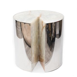 Mid Century Leon Rosen For Pace, (Pac-Man) Stainless Steel And Onyx Side Table