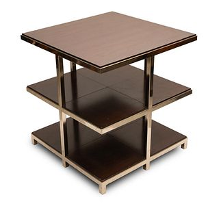 Mid century Modern Stainless Steel and Wood Two Tiered End Table