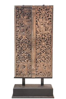 Cambodian 18th Century Carved Wood Panels