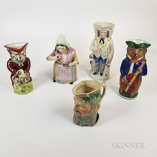 Four Staffordshire Ceramic Animal and Figural Jugs and a Jar