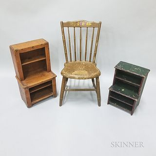 Two Child's Painted Step-back Cupboards and a Thumb-back Windsor Chair