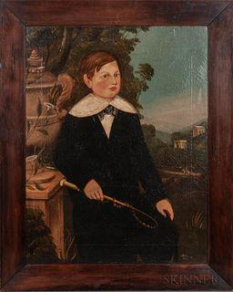 British School, 19th Century    Pair of Folk Art Portraits of Children: John Cocker, Aged 9 Years