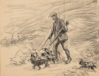Unframed Max Liebermann Lithograph of a Hunter and Dogs
