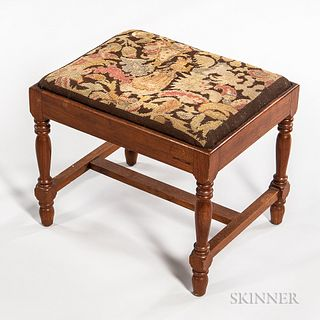 William and Mary-style Upholstered Walnut Footstool