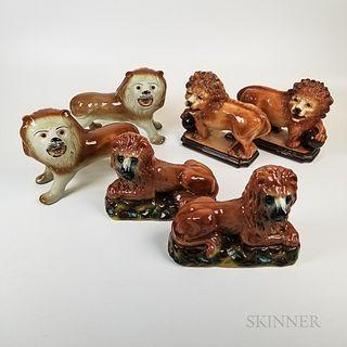 Three Pairs of Staffordshire Ceramic Lions