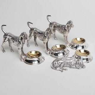 Group of Four Silver Plate Dog Salt Cellars