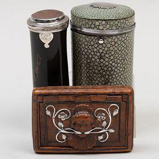 Shipwreck Relic Box, a Shagreen Box, and a Silver-Inset Wood Snuff Box