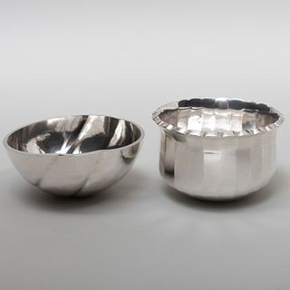 Modernist Claes Giertta Swedish Silver Bowl and a Scalloped Karlheinz Sauer Swedish Silver Bowl