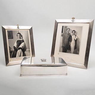 Atelier Borglia Swedish Silver Cigarette Box and Two Belgian Silver Picture Frames