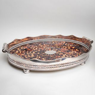 Silver Plate and Faux Tortoiseshell Galleried Tray