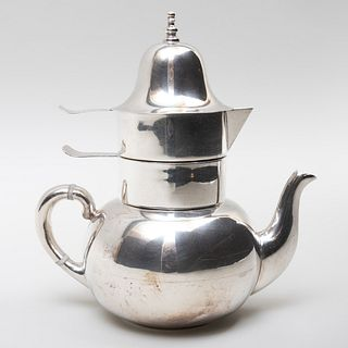 Taxco Mexican Silver Teapot with Stacking Cream and Sugar Vessels