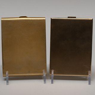 Austrian Engine Turned Silver Gilt Cigarette and Continental Silver Gilt Cigarette Case