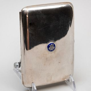 Continental Silver and Enamel Monogrammed Cigarette Case