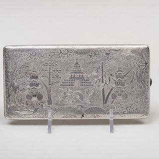 Chinese Export Silver Cigarette Case Engraved with Landscape Scenes