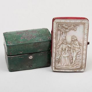 English Shagreen Writing Set and a Mother-of-Pearl Card Case