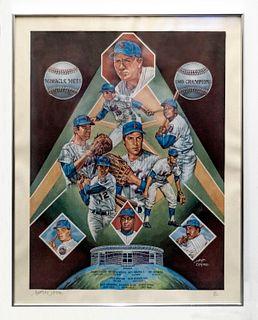 Joseph Catalano NY Mets lithograph.ltd edition 116/950. C.1969. w/COA & $1K APR Value!+