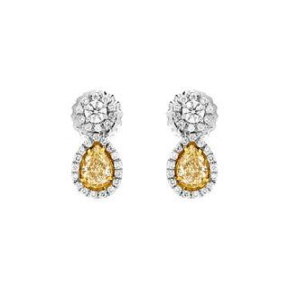 EGL Fancy Light Yellow Diamond Earrings