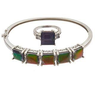 Ammolite Doublet, Topaz, Sterling Silver Jewelry Suite