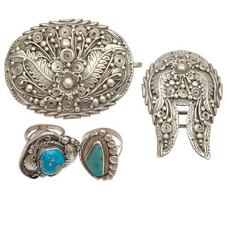 Collection of Native American Turquoise, Sterling Silver Jewelry