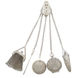 Victorian Sterling Silver, Metal Chatelaine