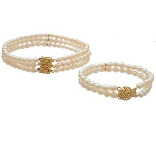 Collection of Two Freshwater Cultured Pearl, 14k Bracelets