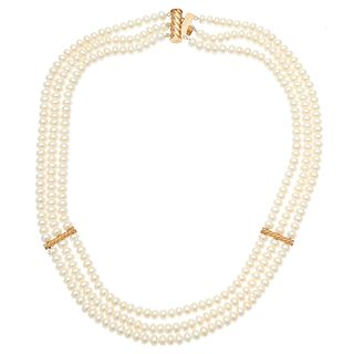 Freshwater Cultured Pearl, 14k Triple Strand Necklace