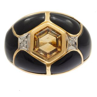 Diamond, Citrine, Black Onyx, 14k Yellow Gold Ring