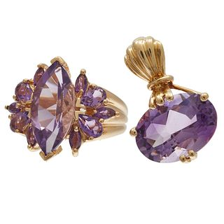 Amethyst, 14k Yellow Gold Ring with Pendant