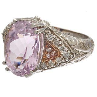 Kunzite, Diamond, 14k White Gold Ring