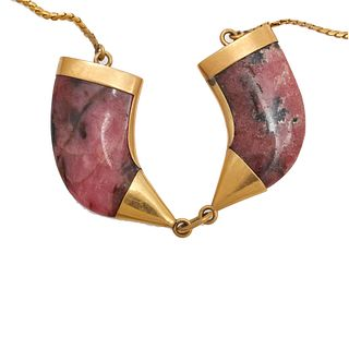 Rhodonite, 18k, 14k Yellow Gold Necklace