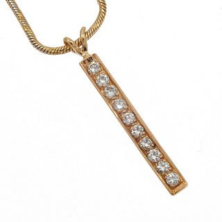 Diamond, Yellow Gold Necklace