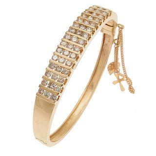 Diamond, 14k Yellow Gold Bangle Bracelet