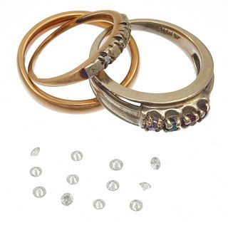 Collection of Three 14k Rings with Unmounted Diamond Melee