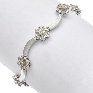 Diamond, 14k White Gold Flower Bracelet