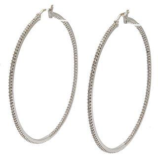 Pair of Diamond, 10k White Gold Hoop Earrings