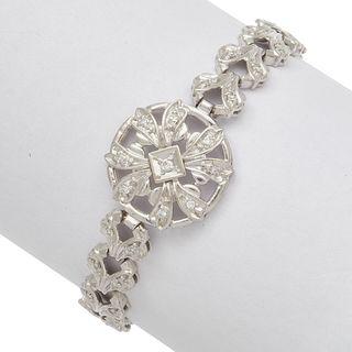 Diamond, 14k White Gold Foliate Link Bracelet